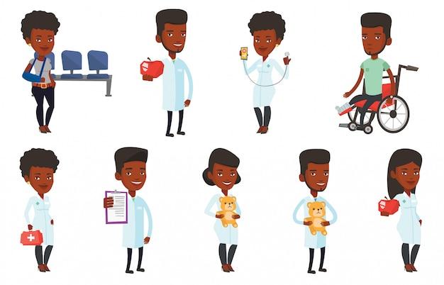 Conjunto de vector de caracteres de médico y pacientes.