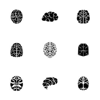 Conjunto de vector de cerebro. la ilustración simple de la forma del cerebro, elementos editables, se puede utilizar en el diseño de logotipos