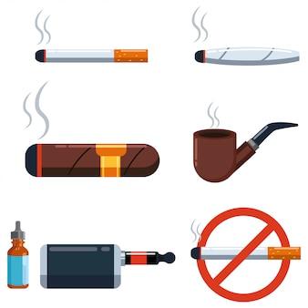 Conjunto del vector del cigarro y del cigarrillo aislado en un fondo blanco.