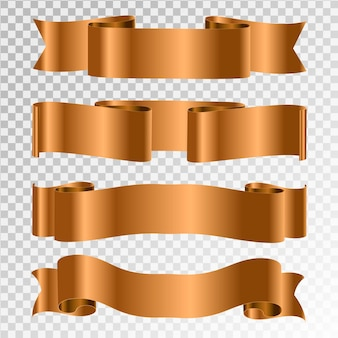 Conjunto de vector de cintas doradas.