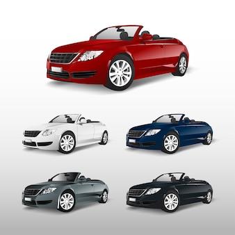 Conjunto de vector de coche convertible colorido