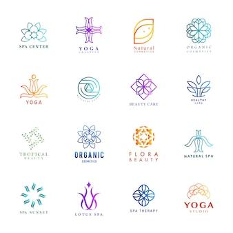 Conjunto de vector colorido de yoga y spa logo
