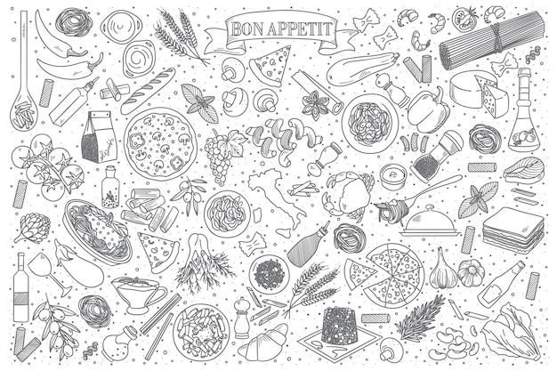 Conjunto de vector de comida italiana doodle