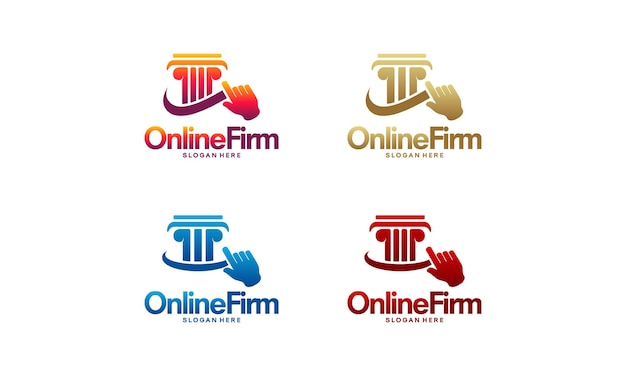 Conjunto de vector de concepto de diseños de logotipo de empresa en línea, símbolo de diseños de logotipo de pilar, logotipo de servicio de árbitro