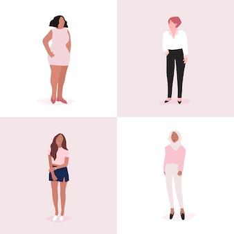 Conjunto de vector de cuerpo completo de mujeres fuertes