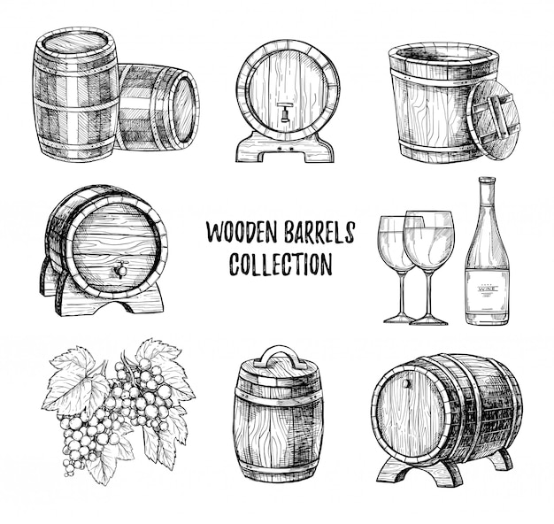 Conjunto de vector dibujado a mano de barril de vino de madera