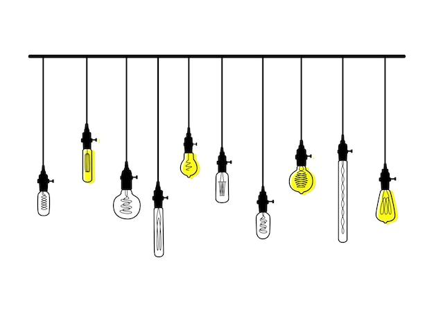 Conjunto de vector dibujado a mano de diferentes lámparas loft geométricas con brillo amarillo. bombillas y boceto moderno.