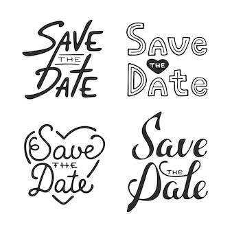 Conjunto de vector dibujado a mano diseño de tipografía
