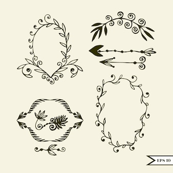 Conjunto de vector dibujado a mano de elementos de diseño vintage para boda, tarjeta greting, cartel