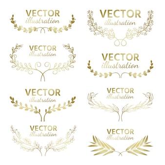 Conjunto de vector dibujado a mano, ramas de oro con hojas y bayas.