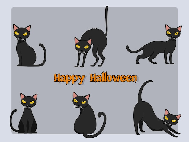 Conjunto de vector de dibujos animados de gato halloween sobre fondo. elementos de diseño de halloween