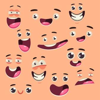Conjunto de vector de dibujos animados lindo rostro colección aislado sobre fondo.
