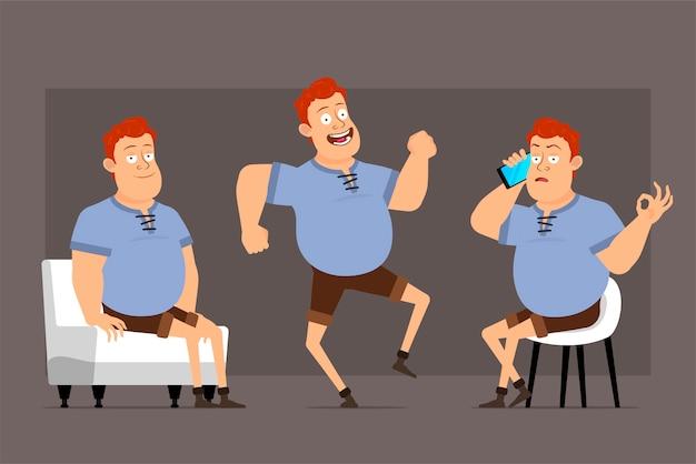 Conjunto de vector de dibujos animados pelirrojo gordo personaje