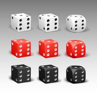 Conjunto de vector de diferentes dados rectangulares, redondeados rojos, negros, blancos aislados en el fondo