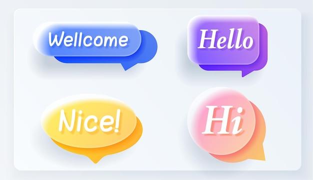 Conjunto de vector de discurso de vidrio realista burbuja plana colorida. pancartas, etiquetas de precios, pegatinas, carteles, insignias. aislado sobre fondo blanco.