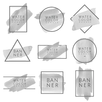Conjunto de vector de diseño de banner de acuarela gris