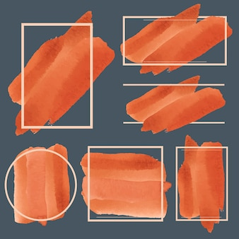 Conjunto de vector de diseño de banner acuarela naranja
