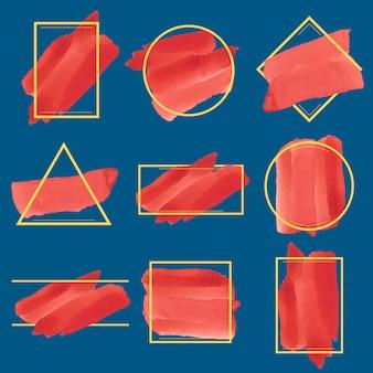 Conjunto de vector de diseño de banner acuarela roja