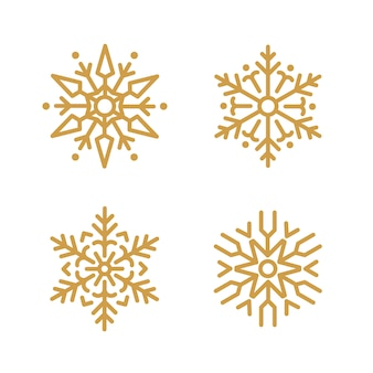 Conjunto de vector de diseño de copos de nieve de navidad