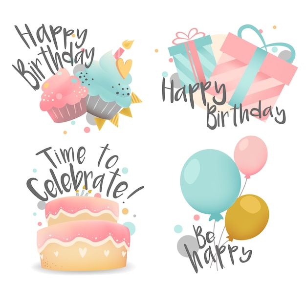 Conjunto de vector de diseño de deseos de cumpleaños
