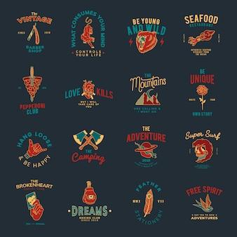 Conjunto de vector de diseño de insignias vintage