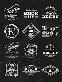 Conjunto de vector de diseño de logo vintage maqueta