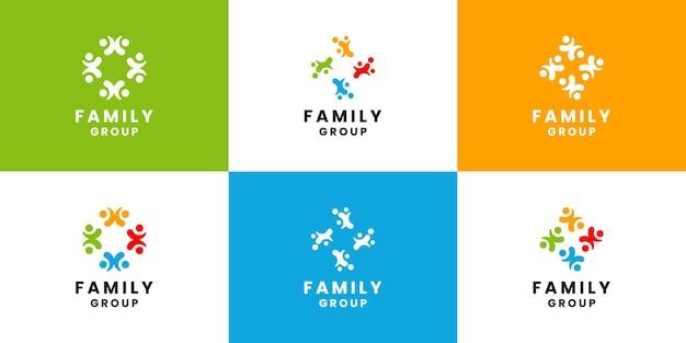 Conjunto de vector de diseño de logotipo de equipo de grupo comunitario