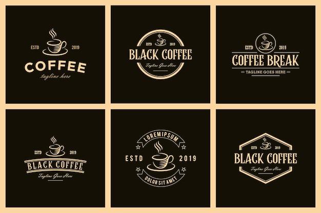 Conjunto de vector de diseño de logotipo retro vintage de cafetería