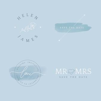 Conjunto de vector de diseño de tarjeta de invitación de boda