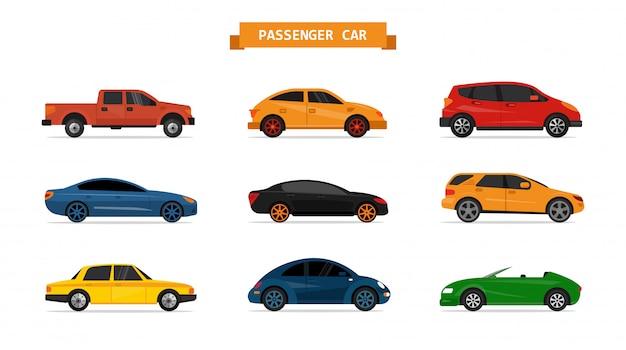 Conjunto del vector de diversos coches aislados. elementos de diseño. sedan, pick up, vehículo deportivo utilitario, deportivo.