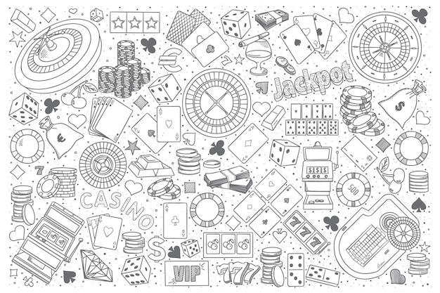 Conjunto de vector de doodle de casino