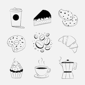 Conjunto de vector de doodle de diseño de café y pastel