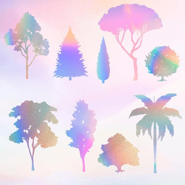 Conjunto de vector de elemento de árbol degradado colorido