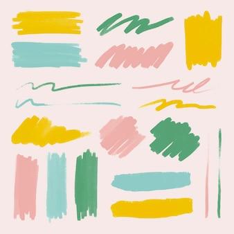Conjunto de vector de elemento de trazo de pincel colorido