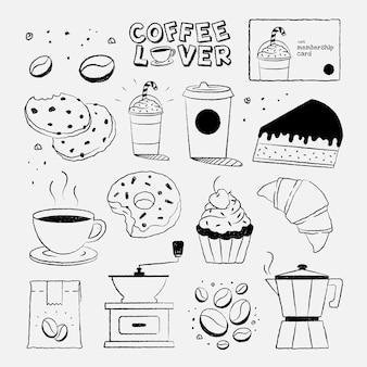 Conjunto de vector de elementos de diseño de café y pastel