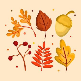 Conjunto de vector de elementos de hojas de otoño