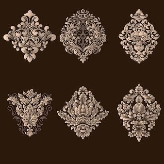 Conjunto de vector de elementos ornamentales de damasco.