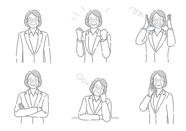 Conjunto de vector empresaria de mediana edad con diferentes poses que expresan una variedad de emociones