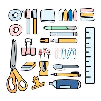 Conjunto de vector de estilo de doodle de papelería