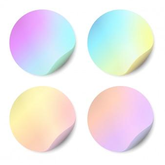 Conjunto del vector de etiquetas engomadas en blanco aisladas. adhesivos redondos, color, holográficos.