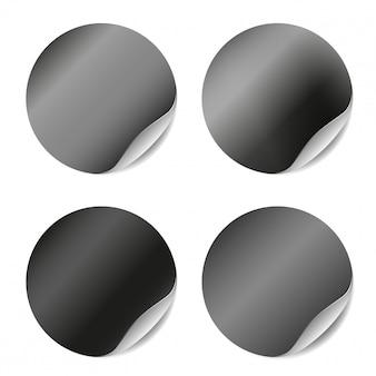 Conjunto del vector de etiquetas engomadas en blanco aisladas. adhesivos redondos para diseño publicitario.