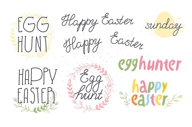 Conjunto de vector de felicitación de caza de huevos de pascua feliz aislado sobre fondo blanco. colección de inscripciones dibujadas a mano y elementos decorativos para tarjetas navideñas, patrones, decoración de regalos, estampados, etiquetas, etc.
