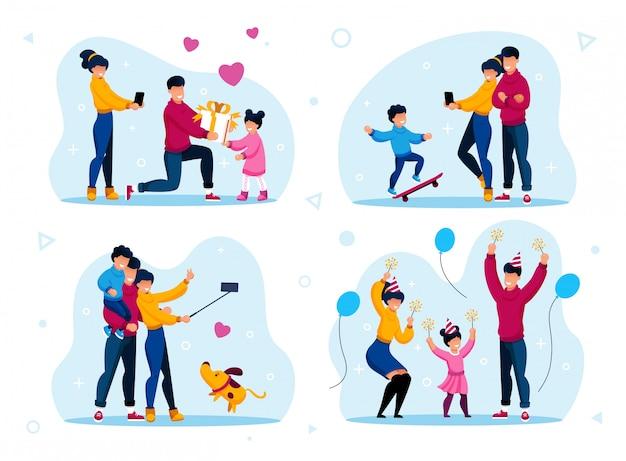 Conjunto de vector de fiesta y recreación de vacaciones familiares
