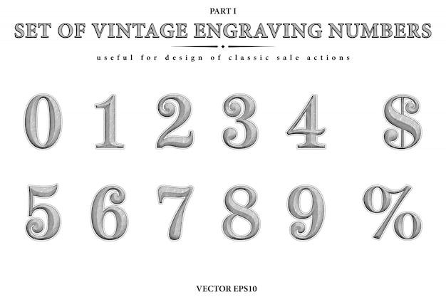 Conjunto de vector de las figuras de grabado retro. números primos negros de cero a nueve, símbolo de dólar y signo de porcentaje. grabado o xilografía de dígitos occidentales.