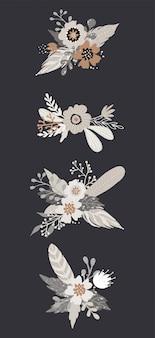Conjunto de vector floral ramo de hermosas flores y plumas. tarjeta de felicitación, decoración de flores. colección de elementos decorativos de diseño floral.