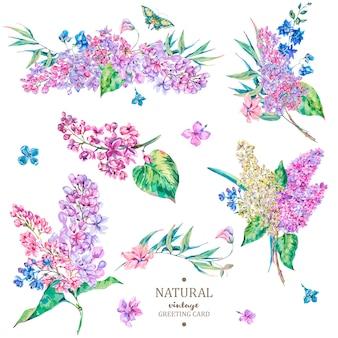 Conjunto de vector floral vintage bouquet de lila