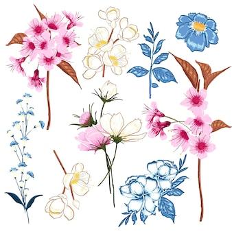 Conjunto de vector florales floración vector