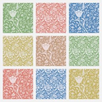 Conjunto de vector de fondo de naturaleza ornamento de patrones sin fisuras