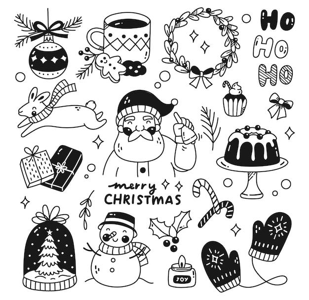 Conjunto de vector de garabatos de navidad kawaii
