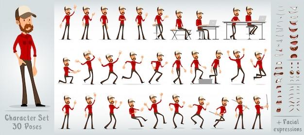 Conjunto de vector grande de dibujos animados hipster plana chico personaje